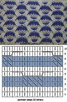 узор 344 многоцветные косы | каталог вязаных спицами узоров