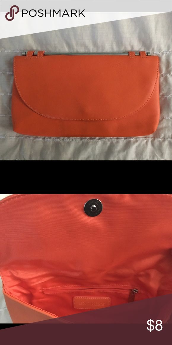 Express orange clutch bag Express Orange Clutch bag great condition used once Express Bags Clutches & Wristlets