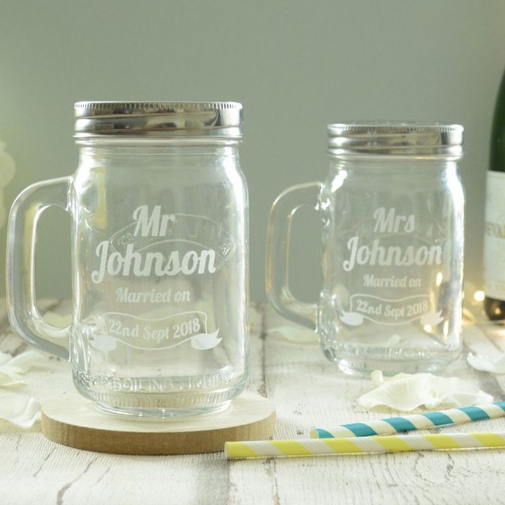 They will be able to toast each other every day with our delightful Mr and Mr kilner drinking jars!  Presented as a set of two, these clear glass jars are customised with our elegant vintage design. These kilner jar glasses are fashioned to look like the classic American mason jar, which means this original wedding present will look wonderful out on display as a celebration of the happy couple's love!  This brilliant and thoughtful wedding gift is available fully personalised by us. We will…