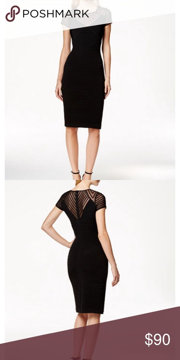 Calvin Klein black dress Calvin Klein cap-sleeve banded sheath dress Calvin Klein Dresses Midi