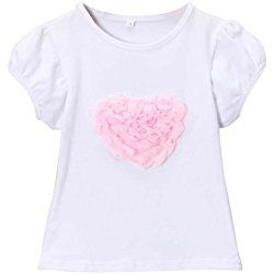 Girls Ruffle Pink Roses Heart Valentine's Day T-shirt, Size Large, 5/6