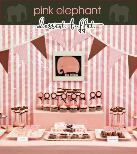 Pink Elephant dessert buffet #baby #shower #decoration #pink #elephant #dessert #candy #buffet