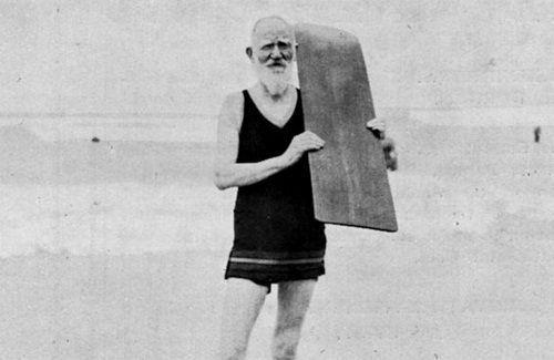 George Bernard Shaw surfing at the Muizenberg beach at the age of 75.