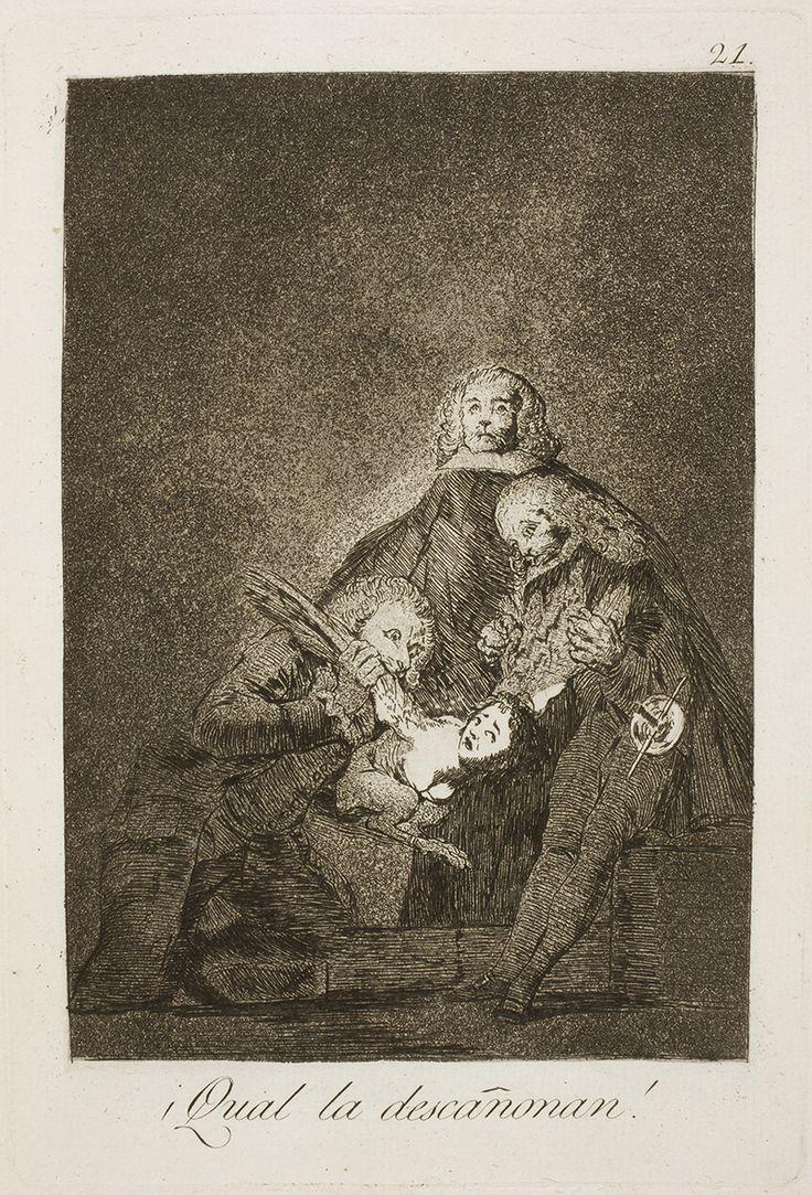 """Francisco de Goya: """"¡Qual la descañonan!"""". Serie """"Los caprichos"""" [21]. Etching and aquatint on paper, 215 x 147 mm, 1797-99. Museo Nacional del Prado, Madrid, Spain"""