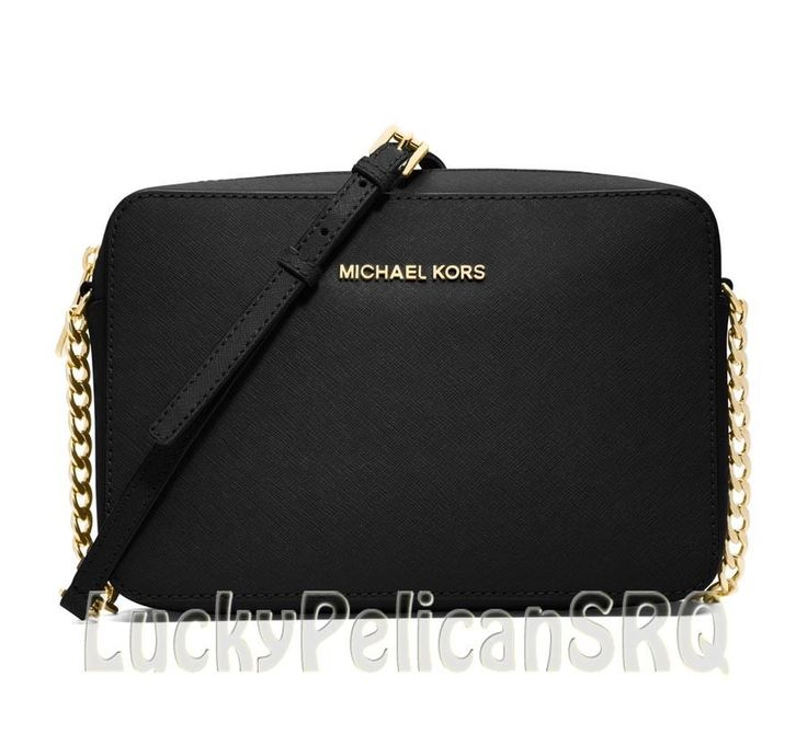 ... Michael Kors Jet Set Travel Large Crossbody Messenger Black EW NWT  MichaelKors MessengerCrossBody ... 747cd06e73b2b