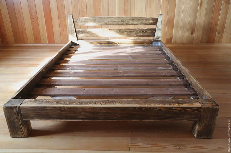 Купить Кровать полуторная 140-190см - коричневый, кровать деревянная, кровать, лиственница, Мебель