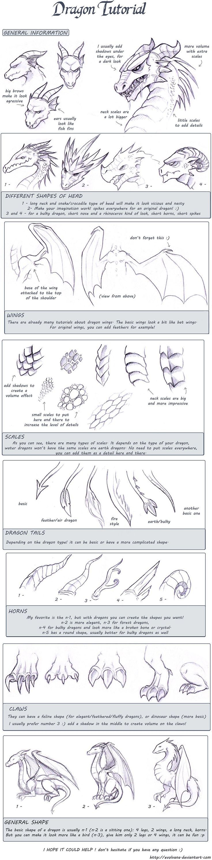 Dragon tutorial by Evolving.deviantart.com ~ love this... Its fun to draw fantasy animals & let your mind go wherever, cause there's no right or wrong with a mythical subject!: