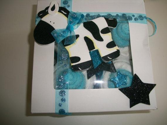 Blue Zebra Baby Shower Cupcakes