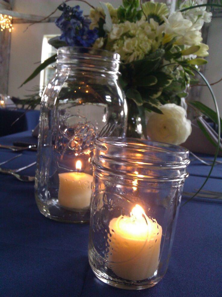 Mason jar centerpieces at Quincy Cellars