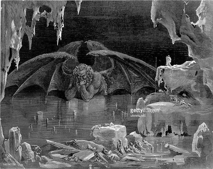Hell, portrayals/graphics: Satan/Lucifer in the 9th circle of hell ...