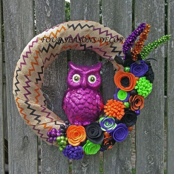 Halloween Wreath, Halloween Burlap Wreath, Halloween Owl Wreath--Halloween Chevron Burlap Wreath with Purple Owl, Felt Flowers, Glitter