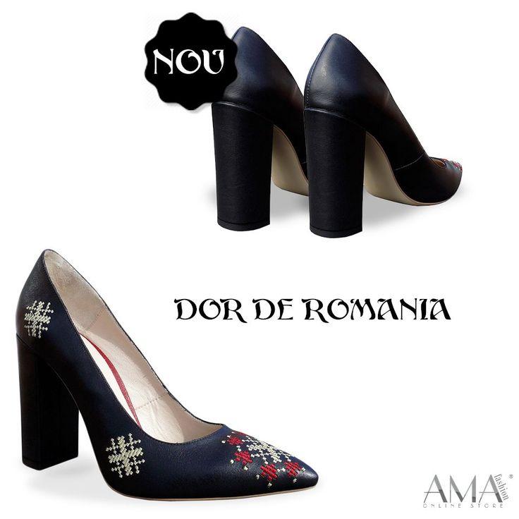 Pantofi stiletto din piele naturala cu motive traditionale. Pantofi cu motive etnice.
