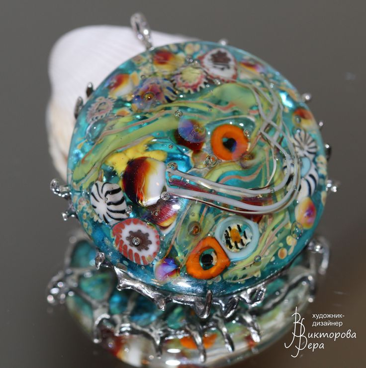 "Pendant Undersea world"". Handmade lampwork, handmade silver. Кулон ""Морской мир"". Авторский Лэмпворк, серебро"