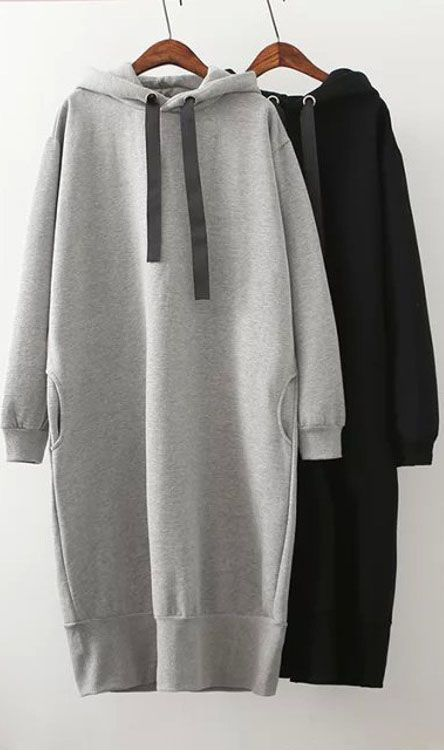 Casual Hooded Sweatshirt Dress