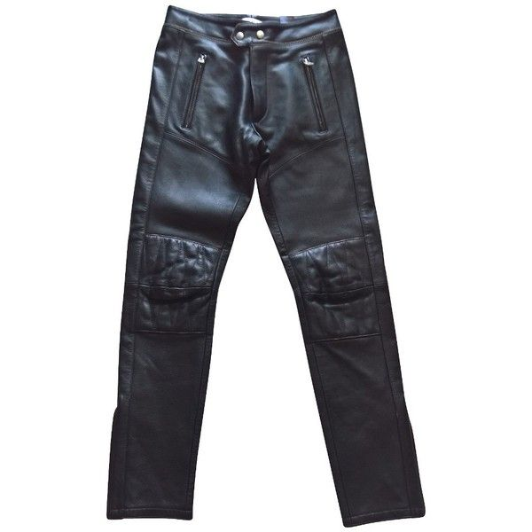 Pre-owned biker pants (5,650 MXN) ❤ liked on Polyvore featuring pants, black, motorcycle pants, real leather pants, isabel marant trousers, bike pants and motorcycle leather trousers