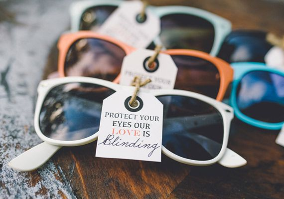 sunglasses as wedding favors | photo by Aster and Olive Photography | http://www.100layercake.com/blog/2013/07/30/summer-ohio-wedding-inspiration/