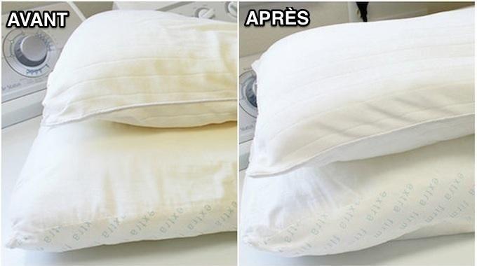 Au fil du temps, lesoreillers jaunissent. Pourquoi ? C'est à cause de la transpirationquand on dort. Même en utilisant une taie d'oreiller, la transpiration passe à travers et laisse