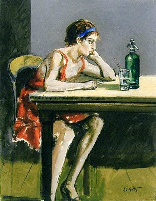 Sughi, Alberto (1928- ) - 1975 Girl Sitting Oil on canvas; 90 x 70 cm. Sughi was born in Cesena, Emilia-Romagna. A self-taught painter, by the end of his formative years he had become one of the greatest Italian artists of his generation. He started painting in the early 1950s, choosing realism in the debate between abstract and figurative art in the immediate post-war period. Even from his early works, however, Sughi's paintings have avoided any attempt at social moralising.