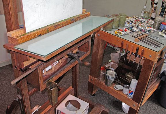 Tempered Glass Palette....Great painting set up with rolling supply cart...
