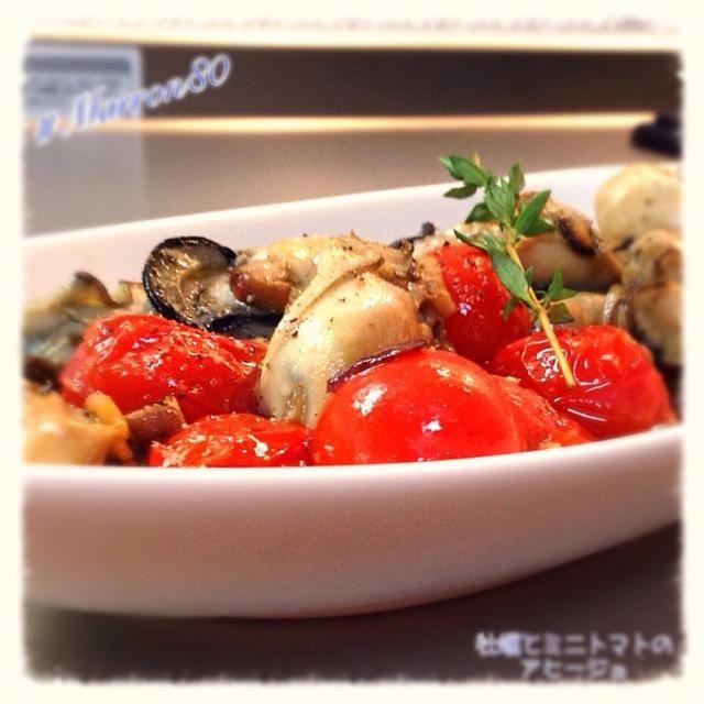 今宵のおつまみだよ(=゚ω゚)ノ たーのーしーみぃ! - 218件のもぐもぐ - 『牡蠣とミニトマトのアヒージョ』 by marron80