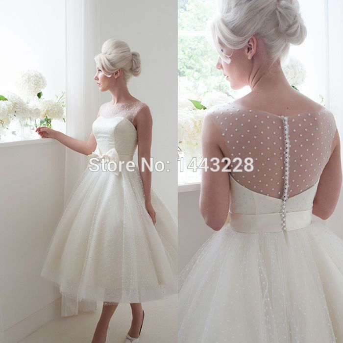 Cheap wedding dresses with lace sleeves, Buy Quality wedding dress usa directly from China wedding dresses cinderella style Suppliers: Illusion Neckline Sheer Low Back Ball Gown Polka Dot Tulle Tea Length Wedding Dress with Bow Bridal Gown vestido