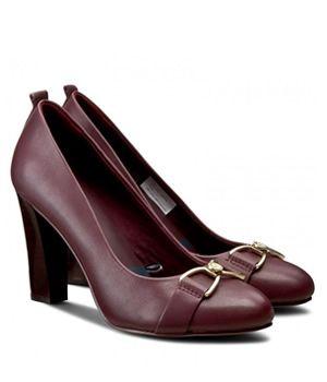 Pantofi Dama Bordo Cu Toc Tommy Hilfiger | Cea mai buna oferta