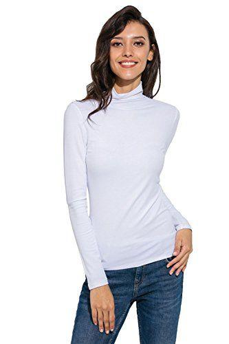 17873532 Womens Long Sleeve/Sleeveless Slim Fit Mock Turtleneck Stretch Comfy Basic T  Shirt Layer Top White