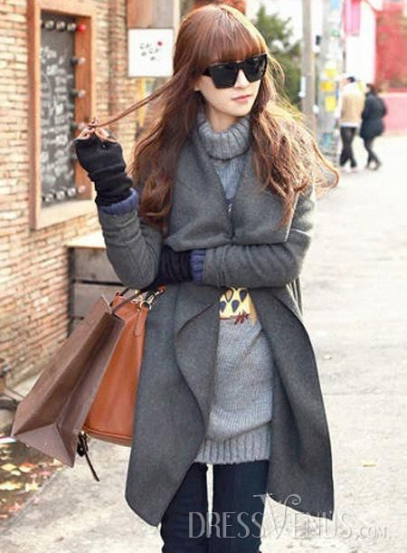 Retro Long Korean Lapel New Arrival Overcoat