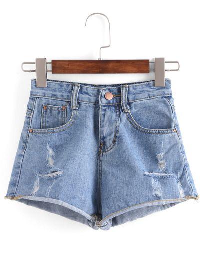 Pantalón corto vaquero raído de dobladillo natural -azul