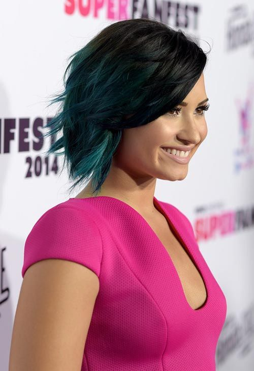Demi Lovato's Layered, Messy Dip-Dyed Hair, check it out at http://makeuptutorials.com/demi-lovato-bob-haircut-makeup-tutorials