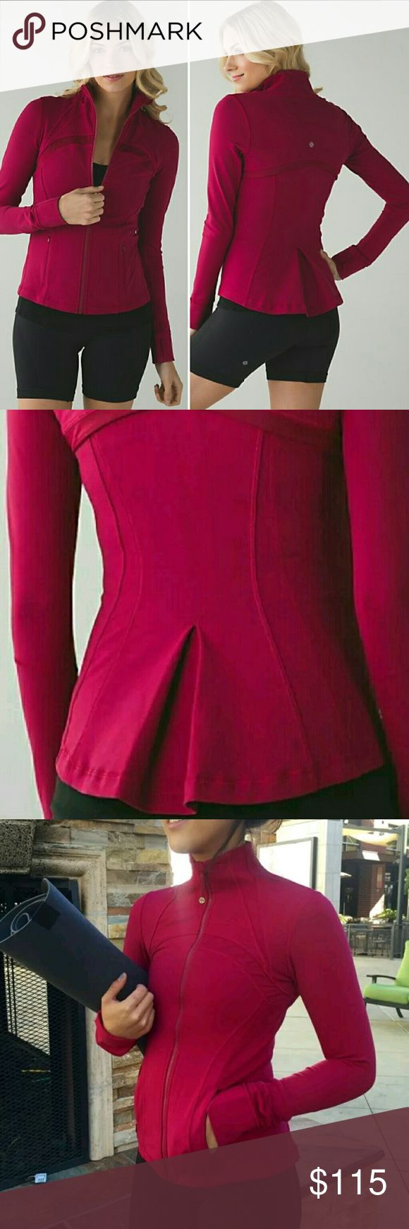 NEW*Rare Lululemon Berry Pleated Define Jacket 4 Special edition very vibrant&beautiful.Perfect condition brand new,just without cardboard tag super flattering. Pleated/Tiered back gives it a slight peplum look.   Color is a called berry rumble,a deep pinkish red. It looks very true red&some lighting and more pink tinted in others but the pictures do a pretty good job of capturing the color it typically appears  Keywords:forme,hustle in your bustle,full zip up sweatshirt sweater track Yoga…