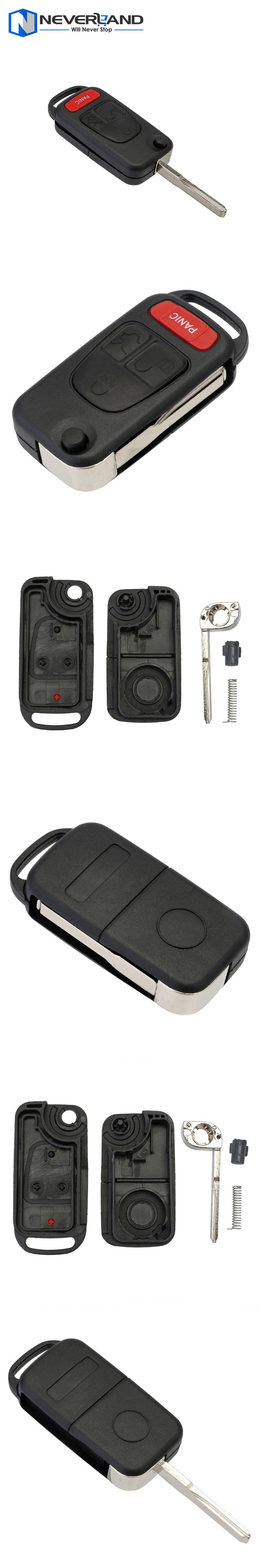 3 +1 Button 4 Button Panic Uncut Blade Flip Remote Key Shell Case HU39 Blade For Mercedes Benz ML320 ML55 AMG D05