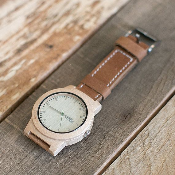 Wooden Watch Wood Watch For Men Geunine Leather Strap by tmbrwood