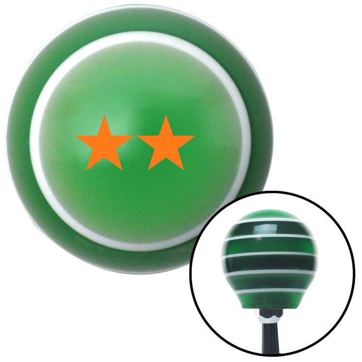 Orange Rear Admiral Upper Half Green Stripe Shift Knob with M16 x 15 Insert