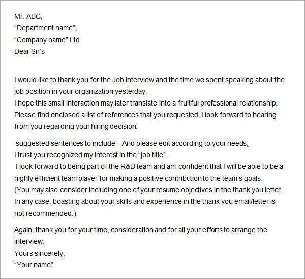 thank you letter after offer hitecauto - sample thank you email