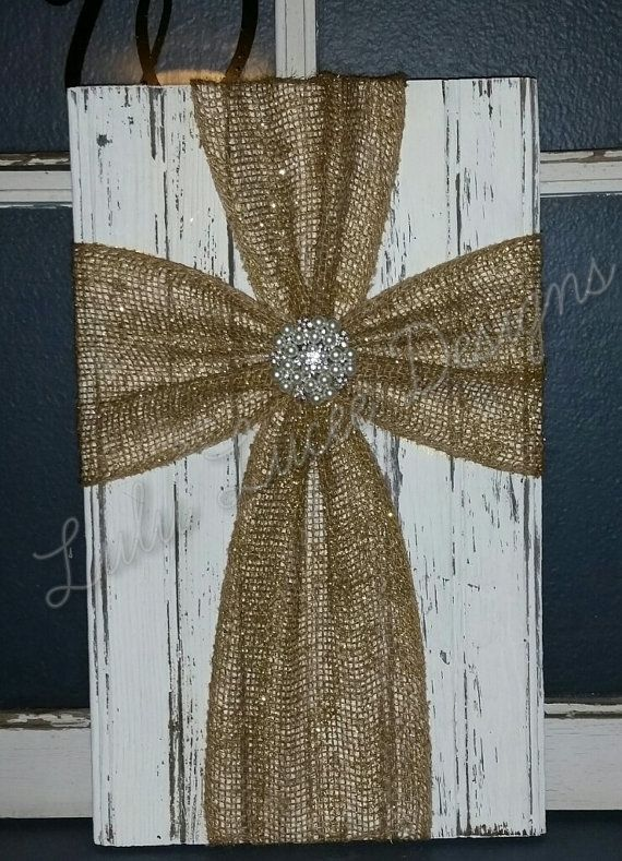 Burlap Cross Wall Decor by LuLuLucee on Etsy