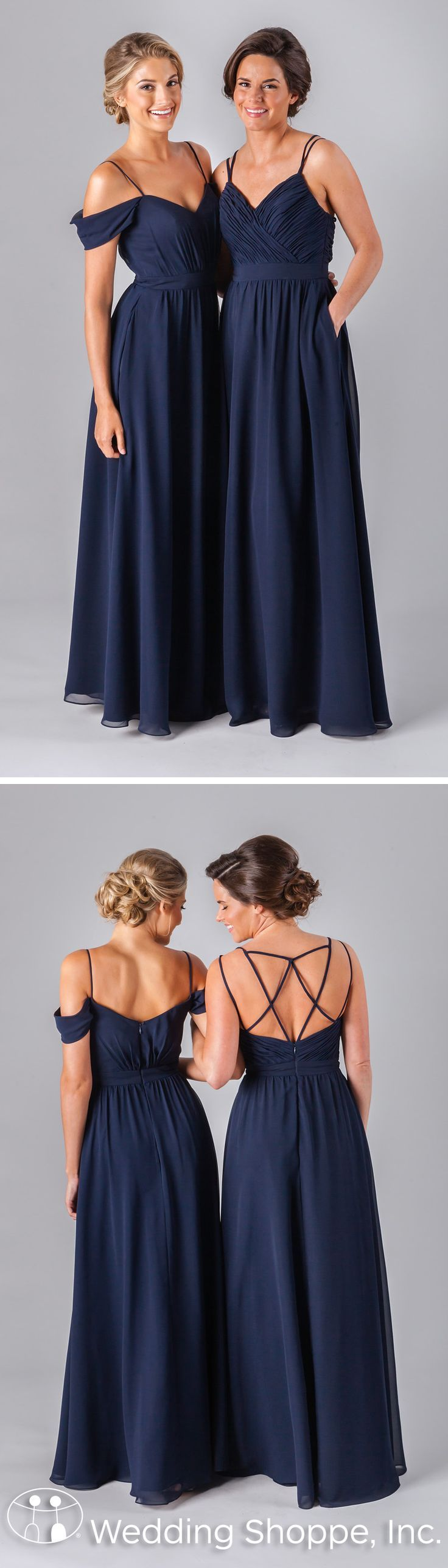 Long mismatched navy bridesmaid dresses with stunning details.
