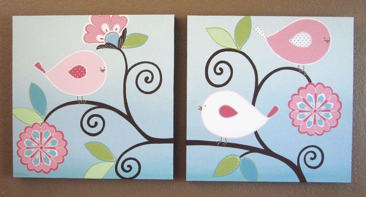 Una nueva adición a la colección del pájaro feliz--estas bastante rosa aves y flores están diseñadas para coordinar muy bien con ropa de cama de Brooklyn de Pottery Barn. Una variedad de contraste de tonos rosa muy bien con el suave fondo azul aqua. Los poderes y los bordes laterales están pintadas en un chocolate oscuro marrón. Una nueva combinación de color favorito!  Cada pieza es pintada a mano, firmado por el artista (me) y no es una impresión. El precio es para todas las pinturas en el…