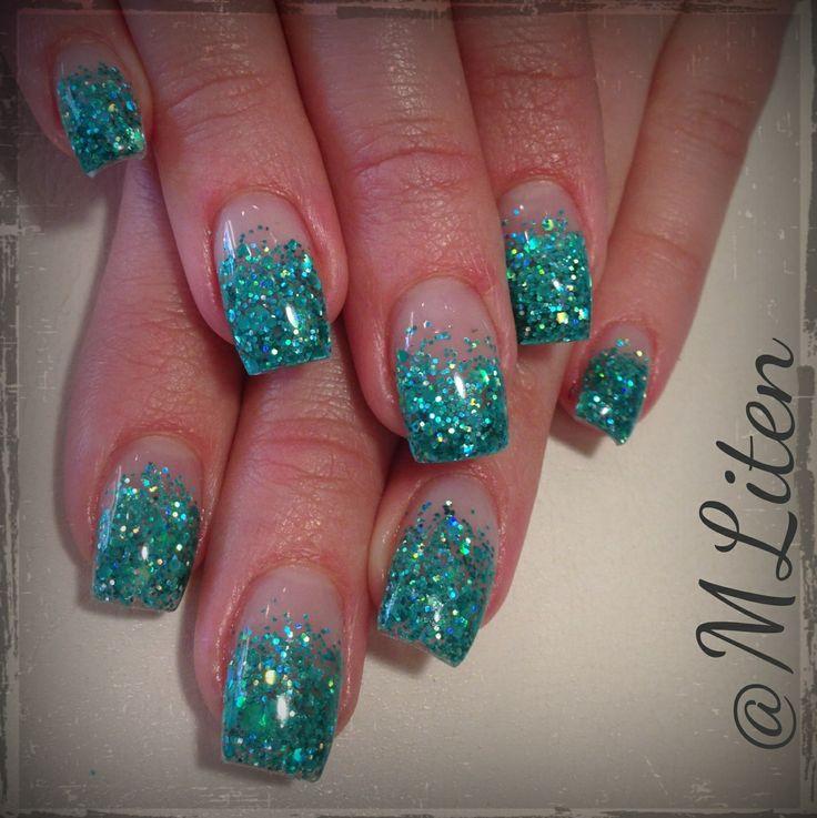 Turquoise glitternails Turkosa glitternaglar