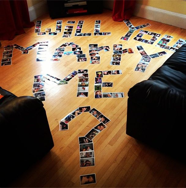 "We've been dating over 10 years (High School Sweethearts), so I knew it would be impossible for him to surprise me, but he found a way.  He told me that our dog (Tucci) made a big mess in the living room when I got home from work… so I went into the room and saw photos from when we first started dating (10 YEARS AGO) to last weekend.  The ""You"" was all pictures of me and the ""Me"" was all pictures of him. #prom #proposals"