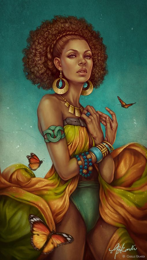 Afro natural hair art , black hairstyles for African American women.Very cute and curly.