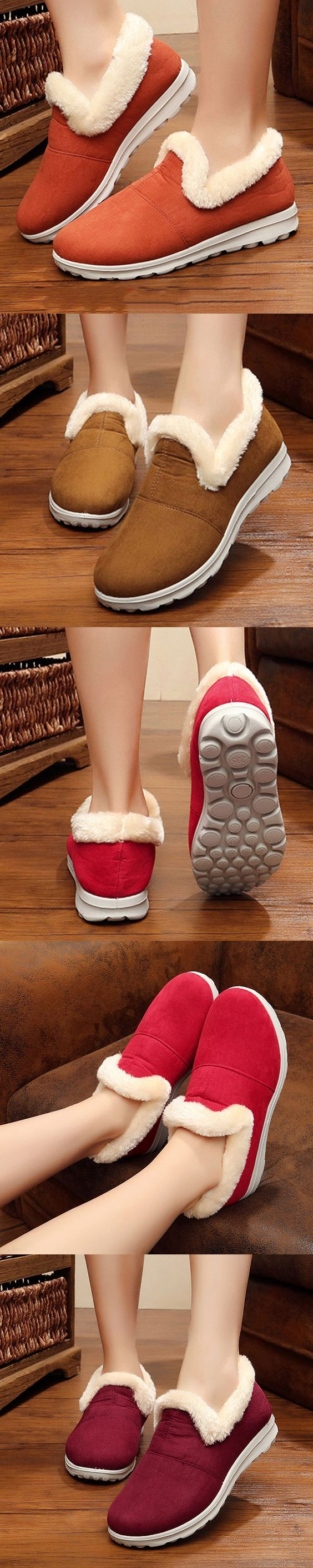 US$17.86 Comfortable Warm Fur Lining Lazy Casual Ankle Boots