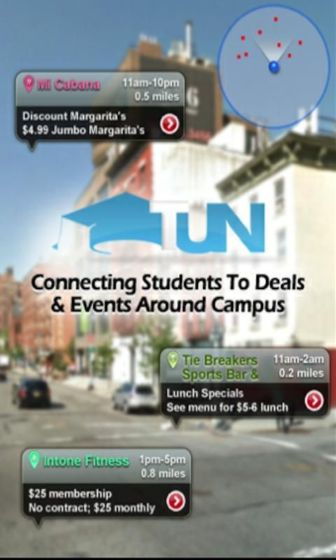 TUN's mission is to save students money every day on basic items they are already spending money on. Here students will find deals and discounts from local businesses on food, entertainment, beauty, beer, fitness and much more.<br/><br/>FEATURES:<br/><br/>- Find the closest student discounts to your current location<br/>- Choose from 3 views including Map View, List View, and the fun to use (although sometimes finicky) Augmented Reality View.<br/>- Discover deals in areas beyond your current…