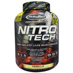 Muscletech, Nitro-Tech. Whey Isolate + Lean Muscle Builder, Vanilla, 3.97 Lbs (1.8 Kg), Diet Suplements 蛇