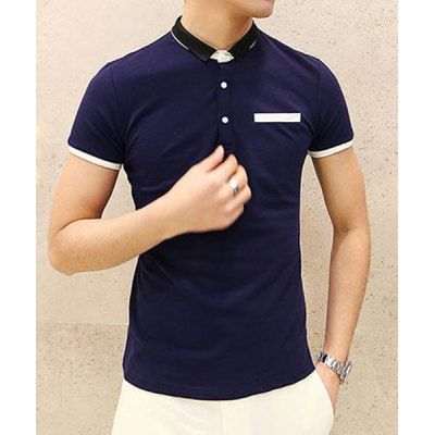 Slimming Purfles Design Turn-down Collar Pocket Embellished Short Sleeves Men's Polo T-Shirt-18.36 and Free Shipping| GearBest.com