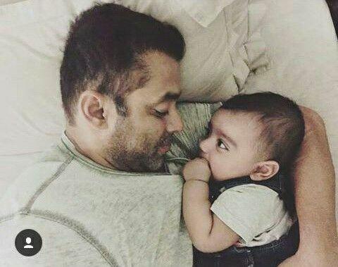 Salman khan with his nephew Ahil sharma