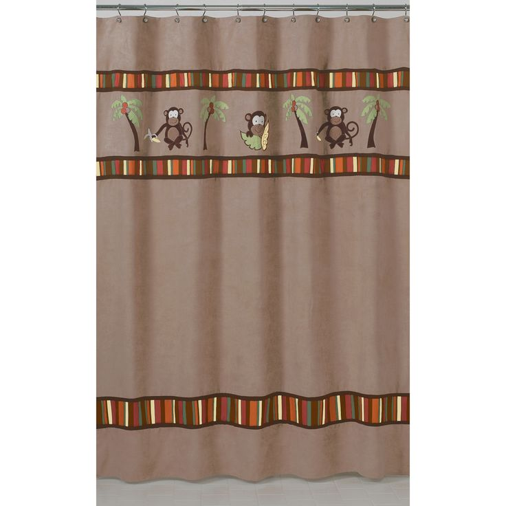 This designer collection monkey pattern curtain adds a touch of style and a splash of color to the bathroom. The easy bathroom makeover can easily pair with coordinating Sweet JoJo Designs room accessories to complete a favorite theme.