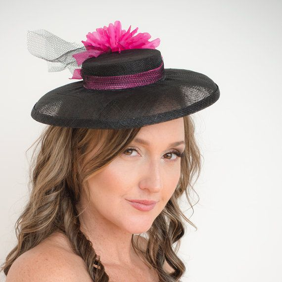 Black and Pink Sinamay Boater hat millinery by TaraMDesigns