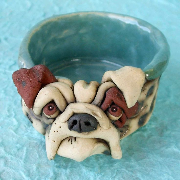 Ceramic Bulldog Bowl Sculpture by RudkinStudio on Etsy