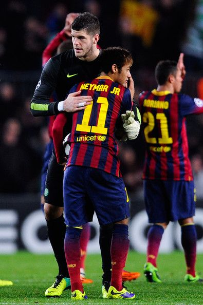 Fraser Forster of Celtic FC hugs Neymar